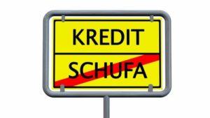 Schild mit Kredit und Schufa durchgestrichen