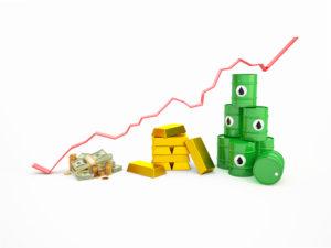 Finanzprodukte 3D Diagramm mit Währung, Gold, Öl