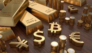 Forexhandel Goldbarren und goldene Währungssymbole Bitcoin, Dollar