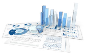 Indizes analysieren, Blaue Infografik 3D