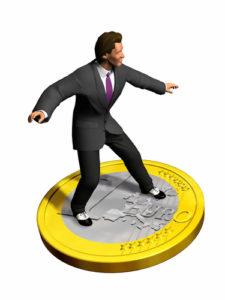 Kosten eines Brokers Geschäftsmann surft auf einer Euromünze