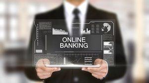 Direktbank - Unternehmer hält transparent Schild in der Hand mit Aufschrift Online-Banking